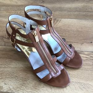 Michael Kors stacked heel caged sandals size 9 1/2